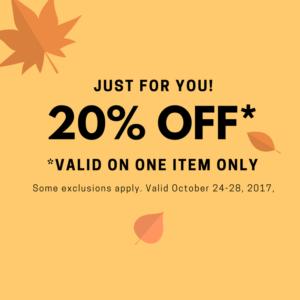 20% off One Item-